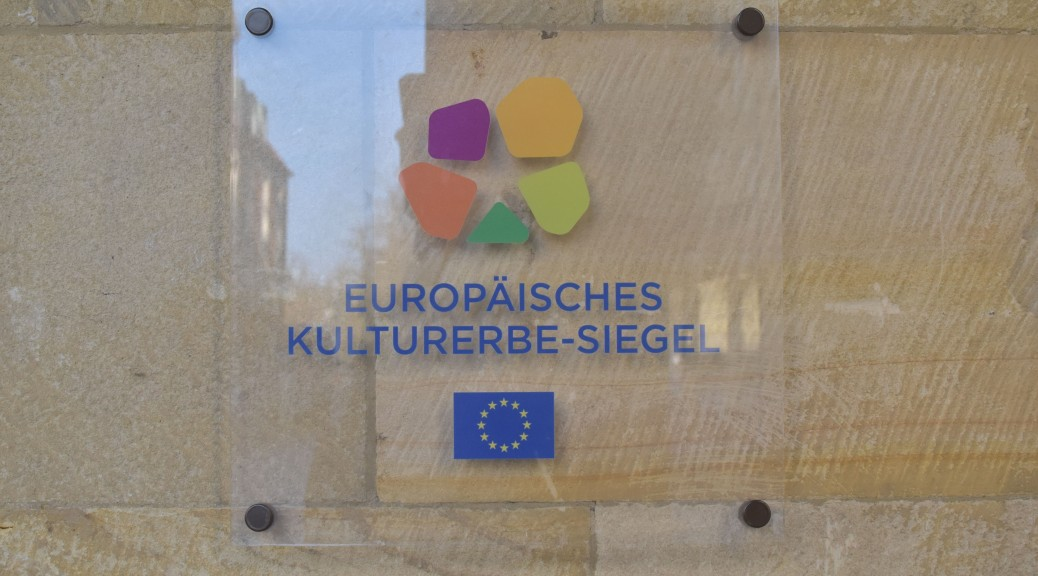 Europäisches Kulturerbesiegel am Rathaus in Münster